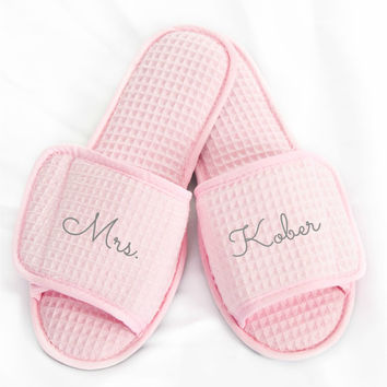 Wedding Slippers Custom Embroidery Brides New Name Gifts Under 20 Dollars