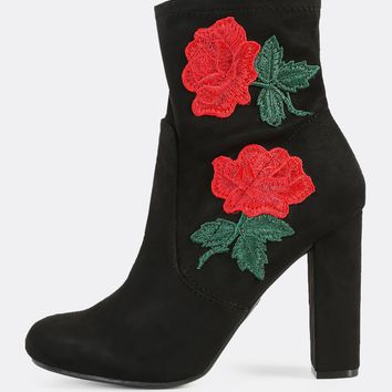 Faux Suede Embroidered Zip Up Bootie Heel BLACK