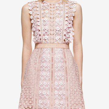 Pink Floral Lace Trimmed Sleeveless A-line Mini Dress