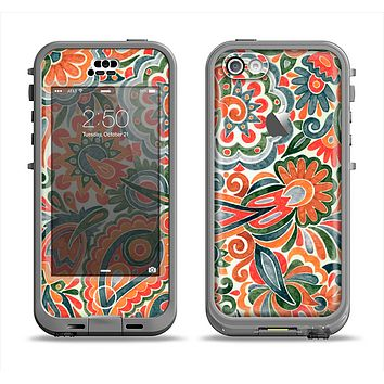 The Vintage Hand-Painted Coral Abstract Pattern Apple iPhone 5c LifeProof Nuud Case Skin Set
