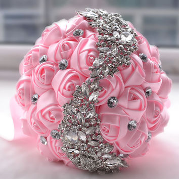 Crystal and Brooch Bridal Bouquet Satin Flowers
