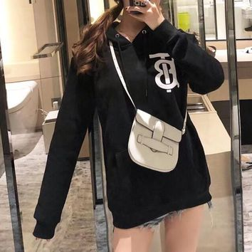 """Burberry"" Women Fashion Letter Print Long Sleeve Hoodie Sweater Casual Tops"