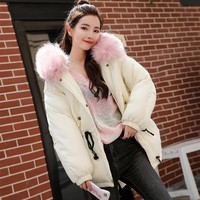 2017 New women winter coats casual solid thick hooded winter jacket warm parka womens clothing cotton padded coats for women