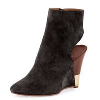 Open-Back Wedge Bootie, Black