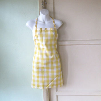 Checked Vintage Full Apron - Cheery White/Yellow Check Kitchen Apron - Wear-Over-Skirt Apron - Yellow/White Check Pinafore - A Line Apron