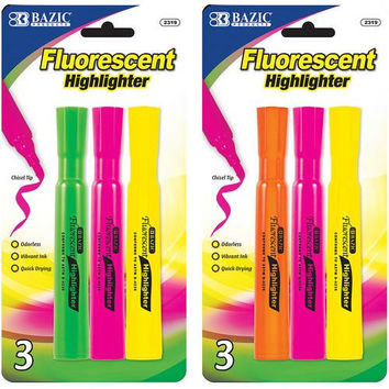 BAZIC Desk Style Fluorescent Highlighters (3/Pack)