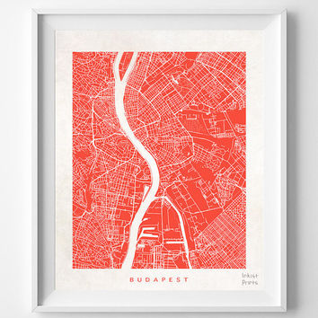 Budapest, Map, Hungary, Poster, Print, Beautiful, Hungarian, Bed Room, World, House, Street, Nursery, Decor, Town, Illustration [NO 612]