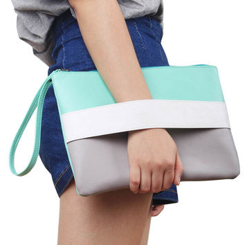 Candy Colored Side Strap Over Sized Clutch