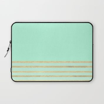 Mint and Gold stripes Laptop Sleeve by Xiari | Society6