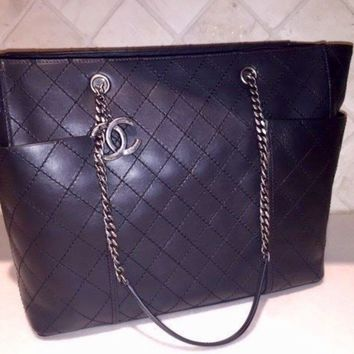Chanel Large Shopper Tote Bag Authentic - Black