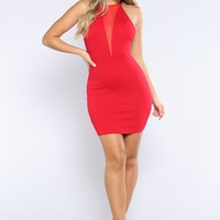 Mesh Me Not Dress - Red