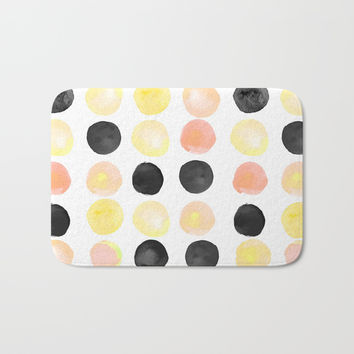 Peach + Coal Dots Bath Mat by cadinera