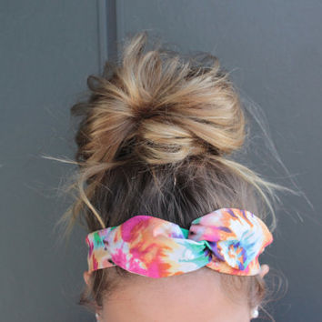 Tie Dye Music Festival EDM Summer Concert Hippie Twist Head Scarf Dolly Bow Wire Headband Bun Wrap