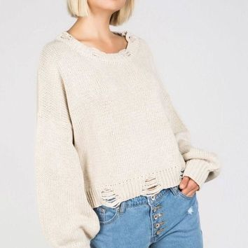 Double Stripe Destroyed Sweater - Beige by POL Clothing