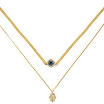 Exclusive Evil Eye & Hamsa Layered Choker Necklace