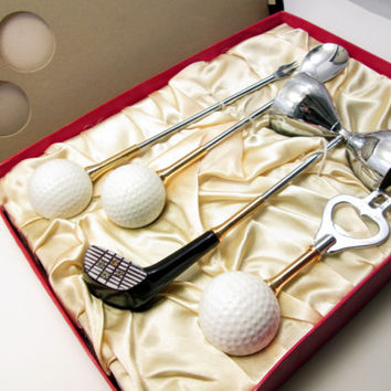 Vintage Golf Barware Utensil Set - Crown Awards Golf Theme Gift in box - Gift for groom