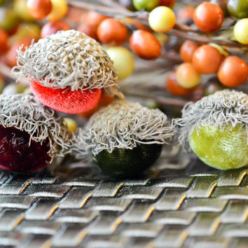 Set of 10 Silk Velvet Acorns in Red and Green Colors, Thanksgiving, Fall Decor, Table Centerpiece, Real Acorn Caps