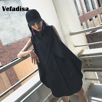 Vefadisa Sleeveless Mid-Calf Asymmetrical Dress 2017 Vestidos Turn-down Collar Summer Wearing Black Irregular Hem Dress AD235