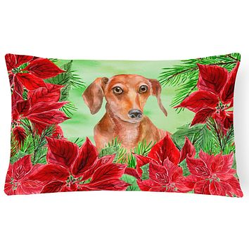 Red Dachshund Poinsettas Canvas Fabric Decorative Pillow CK1355PW1216