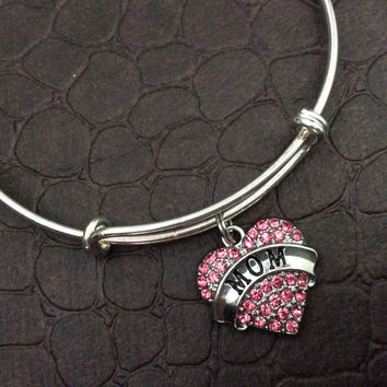 Pink Mom Crystal Heart Charm Silver Bracelet on Expandable Adjustable Wire Bangle Handmade Mother Trendy Gift