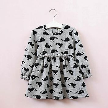 Girl Dresses Dolphin Waist Lupine Border Children's Dress Kids clothes