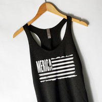 Distressed American Flag Tank Top in Black
