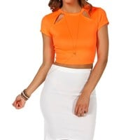 Sale- Neon Orange Cutout Fitted Crop Top