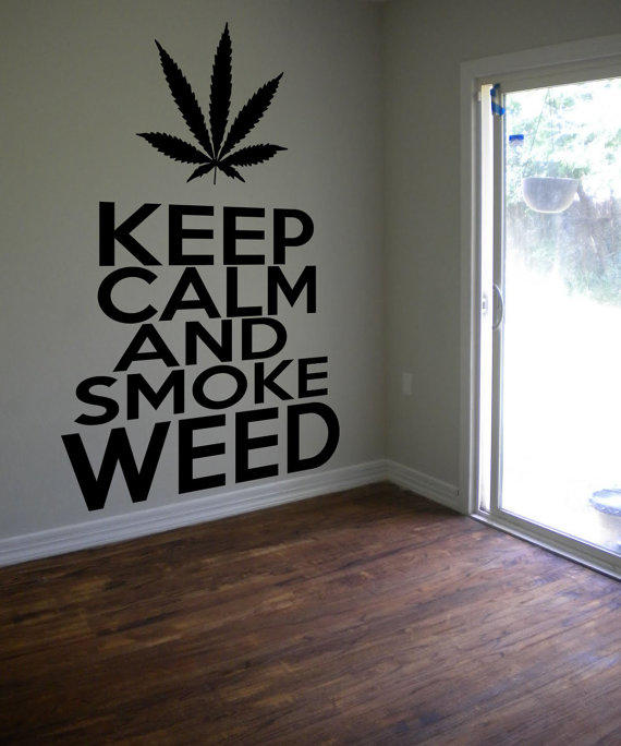 Keep calm smoke weed cannabis pot sticker from for 420 room decor