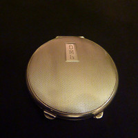 Antique 1913 sterling silver Art Deco compact powder compact dance purse deco compact silver compact.