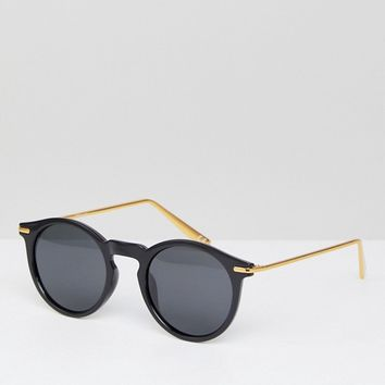 ASOS Round Sunglasses With Polarised Lens And Metal Arms at asos.com