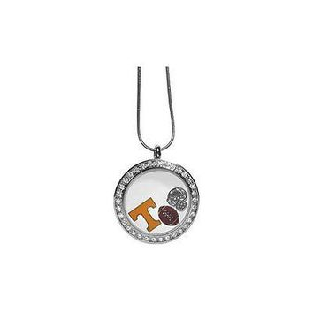 "Tennessee Volunteers Locket Necklace Floating Charms Silver Tone 18"" Sna ..."