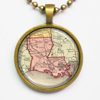 State Map Necklace - Louisana -Vintage Map Series