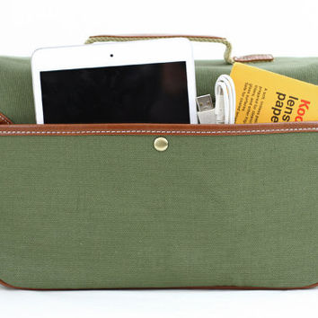 Green Canvas Camera Bag w/ Shoulder Strap