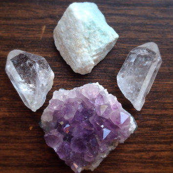 Raw Crystal Set Amethyst Crystal Healing Crystals and Stones Bohemian Decor Yoga Crystals Meditation Stones Gypsy Gift Rough Stones