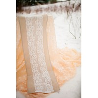 Natural Linen Lace Table Runner 12 x 108