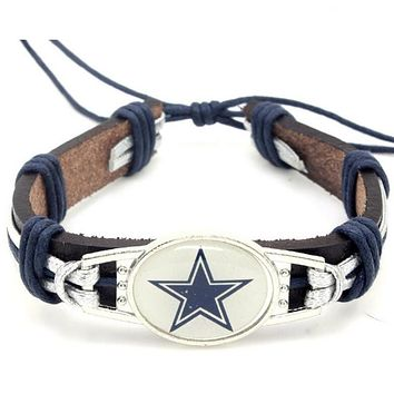 High Quality Dallas Cowboys Football Team Leather Bracelet Adjustable Leather Cuff Bracelet For Men and Women Fans 10pcs/lot