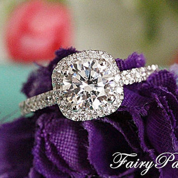 2 Carat Round Cut Man Made Diamond in Cushion Shaped Halo Engagement Ring / Promise rings in half pave band ( FairyParadise ) R306