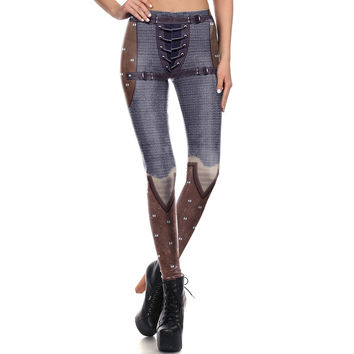 1660 Sexy Girl leggins Rivet Leather Armour Cosplay Printed Polyester Elastic Slim Fit Fitness Women Leggings Pants Trousers