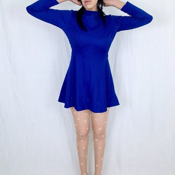 Vintage 60s Mod Sears Fashions Royal Blue Crepe Polyester Stretch A-Line Babydoll Mini Majorette Skater Dress S // M