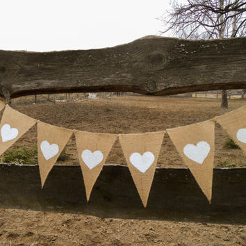 Valentines Day Bunting Valentines Day Decor Valentines Banner Valentines Decor Burlap Wedding Banner Burlap Heart Banner Burlap