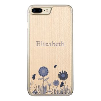 Blue summer meadow carved iPhone 7 plus case