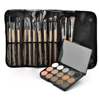 Professional 15 Color Eyeshadow Neutral Concealer Palette Makeup Brushes and Pouch Set