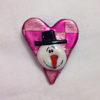 Pink and Coral Heart pin with snowman  - Checkered Pink Heart Brooch with black hat snowman