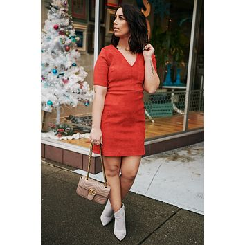 Forever Fave Faux Suede Dress (Red)