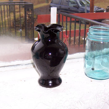 Black Amethyst Glass Bud Vase 6 Inch Tall with Ruffled Edging Deep Purple Color