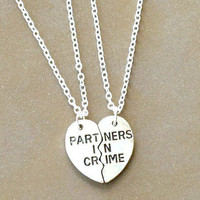 Silver Best Friends Necklace, Partners in Crime Necklace, Necklace Set, Silver Necklace, Gift, Best Friend Jewelry