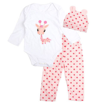 Choice of Adorable Baby Girl 3 Piece Sets. Include Onesuit, Pants and Matching Hat