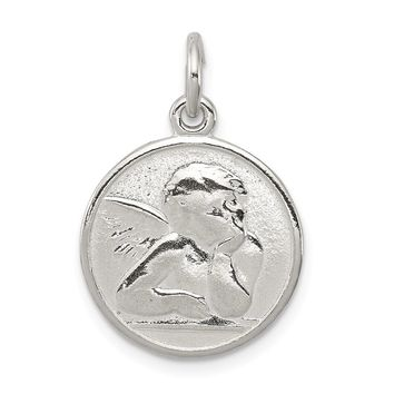 Sterling Silver Polished & Textured Small Raphael Angel Pendant