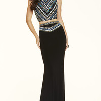 Long Beaded Two Piece Jersey Prom Dress by Mori Lee