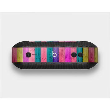 The Vibrant Neon Colored Wood Strips Skin Set for the Beats Pill Plus